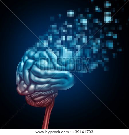 Digital brain and mind upload or uploading human thinking concept as a neurological organ being tranformed to digitalized pixels uploaded to virtual space or a cloud server as an artificial intelligence symbol or neuroscience technology in a 3D illustrati