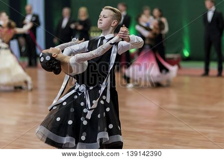 Minsk Belarus -May 29 2016: Prahov Ivan and Sackevich Ekaterina Perform Juvenile-1 Standard European Program on National Championship of the Republic of Belarus in May 29 2016 in Minsk Republic of Belarus