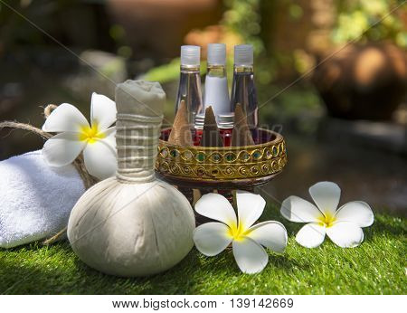 Spa massage compress balls with salt, turmeric and aroma, Thailand, soft and select focus