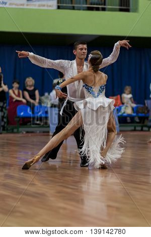 Minsk Belarus -May 29 2016: Karatkevich Vladimir and Kravchenko Nataliya Perform Adult Latin-American Program on National Championship of the Republic of Belarus in May 29 2016 in Minsk Belarus