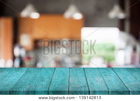 Blue top wooden with abstract blur coffee shop background, stock photo