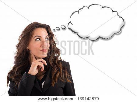 Woman thinks with little cloud of thought