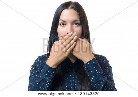 Young Woman Covering Her Mouth With Her Hands
