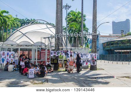 Landmark White Arches Of Arcos Da Lapa In Front Of Circo Voador