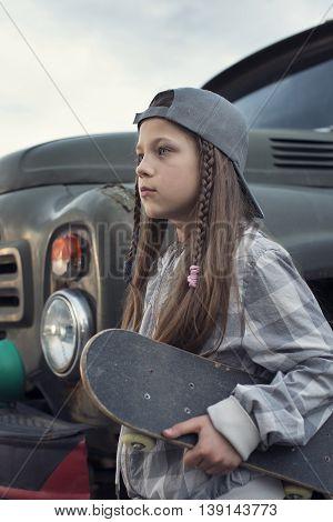 Girl With Skateboard