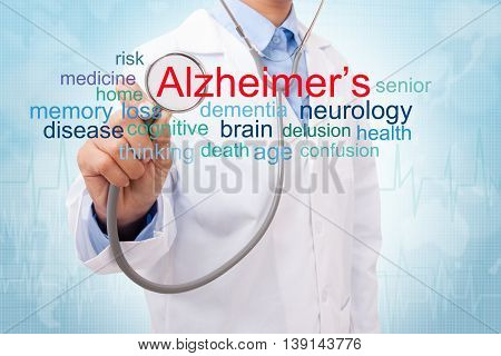 Doctor with Alzheimers disease word cloud. medical concept