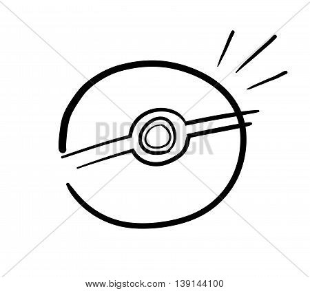 Video Game Ball. A hand drawn vector illustration of a Pokeball.