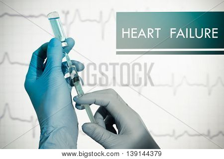 Stop heart failure. Syringe is filled with injection. Syringe and vaccine