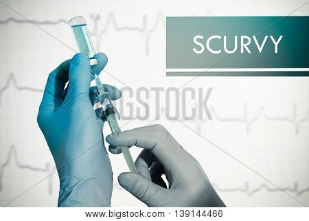 Stop scurvy. Syringe is filled with injection. Syringe and vaccine