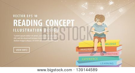 Boy Reading A Book On A Pile Of Books, Brown Background And Icons Refer To Knowledge And Learning Il