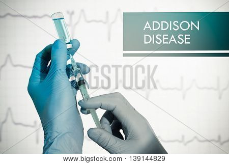Stop addison disease. Syringe is filled with injection. Syringe and vaccine