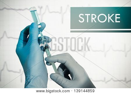 Stop stroke. Syringe is filled with injection. Syringe and vaccine