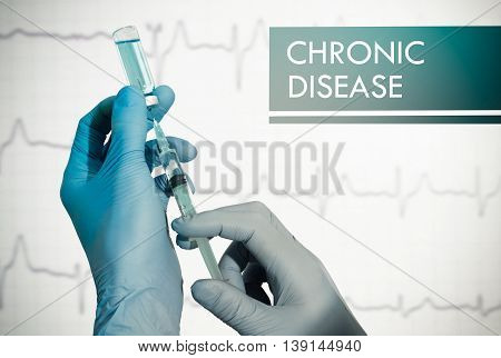 Stop chronic disease. Syringe is filled with injection. Syringe and vaccine