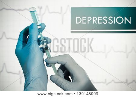Stop depression. Syringe is filled with injection. Syringe and vaccine
