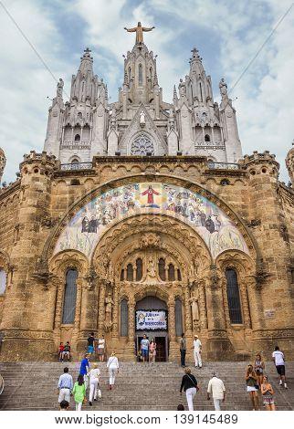BARCELONA SPAIN - JULY 3 2016: Church of the Sacred heart of Jesus in Barcelona in Spain.