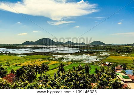 Bird's eye view of the green countryside of Vietnam