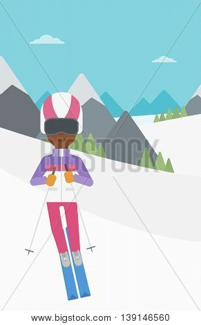 An african-american woman skiing on the background of snow capped mountain. Skier skiing downhill in mountains. Female skier on downhill slope. Vector flat design illustration. Vertical layout.