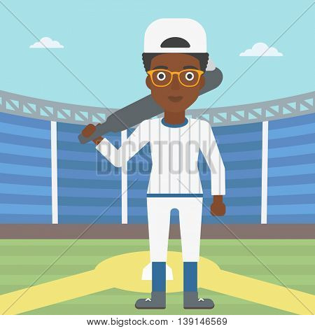 An african-american female baseball player standing on a baseball stadium. Female professional baseball player holding a bat on baseball field. Vector flat design illustration. Square layout.