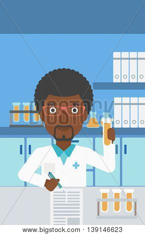 An african-american laboratory assistant taking some notes and working with a test tube at the lab. Vector flat design illustration. Vertical layout.