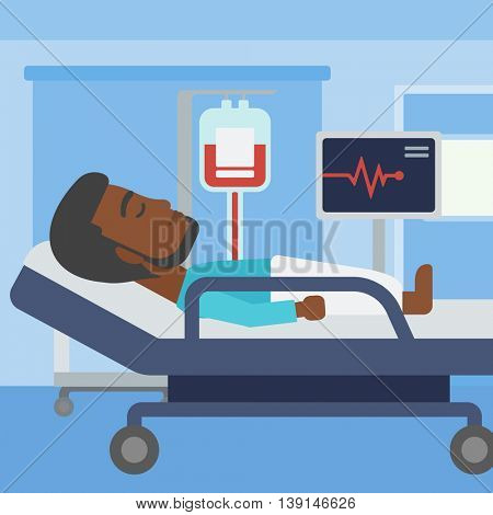 An african-american man lying in bed at hospital ward. Patient with heart rate monitor and equipment for blood transfusion in medical room. Vector flat design illustration. Square layout.