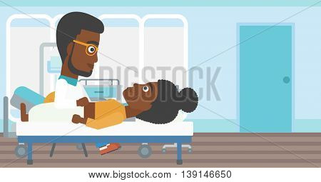 An african-american doctor touching abdomen of female patient. Woman on reception at doctor. Vector flat design illustration. Horizontal layout.