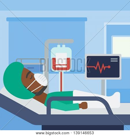 An african-american man in oxygen mask lying in hospital ward with heart rate monitor and equipment for blood transfusion. Vector flat design illustration. Square layout.