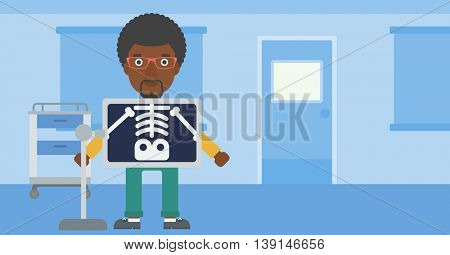An african-american man with x ray screen showing his skeleton in examination room. Vector flat design illustration. Horizontal layout.