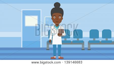 African-american young female friendly doctor with stetoscope standing in hospital corridor and carrying folder of patient or medical information. Vector flat design illustration. Horizontal layout.
