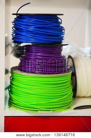 Close up of 3D Printer ABS Plastic Filament