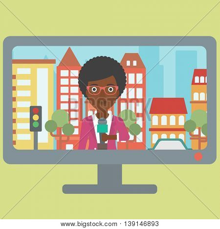 Television set broadcasting the news with an african-american reporter on a city background vector flat design illustration. Square layout.