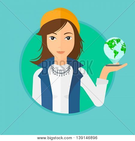 Young woman holding a smartphone with a model of planet earth above the device. International technology communication concept. Vector flat design illustration in the circle isolated on background.