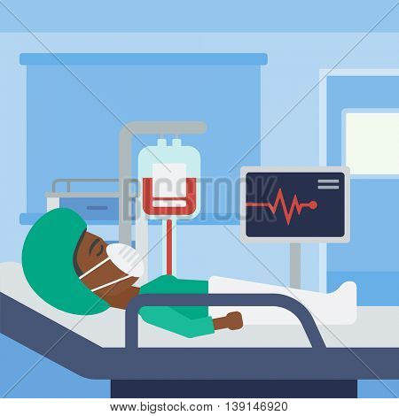 An african-american woman in oxygen mask lying in hospital ward with heart rate monitor and equipment for blood transfusion. Vector flat design illustration. Square layout.