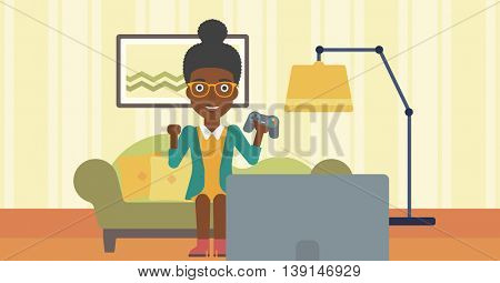 An african-american woman with gamepad in hands sitting on a sofa in living room vector flat design illustration. Horizontal layout.