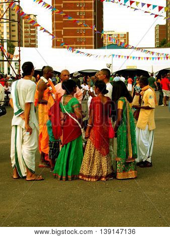 Durban, South Africa - April 20, 2014:  International Festival of Chariots. Indians on holiday.