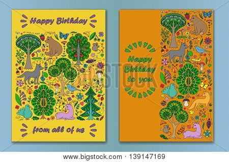Greeting cards of colorful doodle forest animals and plants. Happy Birthday cards set. Vector illustration of cover with childish woodland. Poster collection