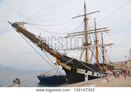 GAETA, ITALY - JUNE 25, 2016: The three masted Palinuro, a historic Italian Navy training barquentine, moored in the Gaeta port.