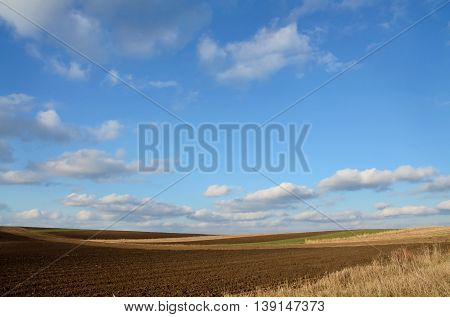 Cultivated farm lands. Agriculture in central Europe