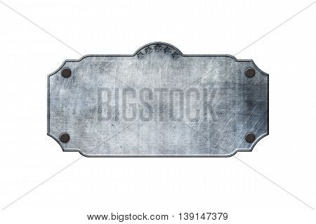 old metal sign board on isolated white background. western style. 3d illustration.