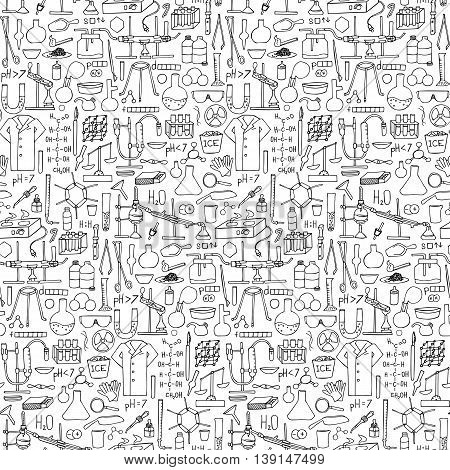 Chemistry doodle hand drawn seamless pattern. Science elements and objects