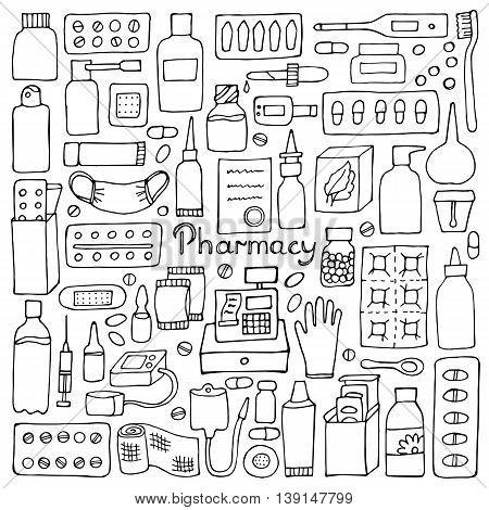 Pharmacy hand drawn elements. Medicament doodle set
