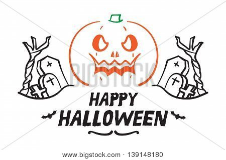 Vector : Happy Halloween with Doodle pumpkin and graveyard Holiday concept.