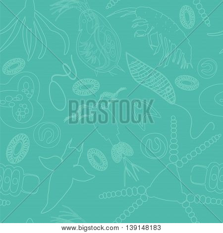 Plankton seamless pattern. Vector illustration with small organism both phytoplankton and zooplankton. Ideal for fabric textile backdrop wallpaper wrapping paper on environmental biologcal nature theme.