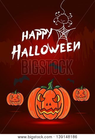 Vector : Happy halloween card with pumpkin and bat.