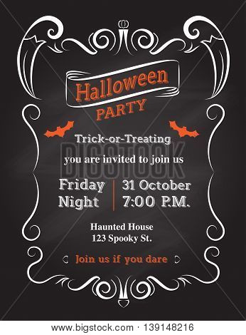 Vector : Halloween Invitation card to party with vintage ornament frame on black background.