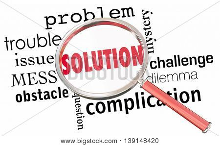 Solution Solve Problem Issue Resolution Find Fix Magnifying Glass 3d Illustration