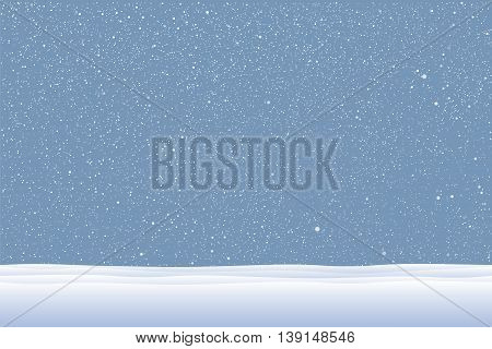 Vector white snow falling on blue background. Snowdrift.