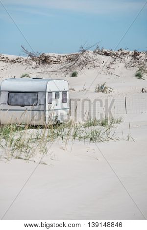 Camper van on a summer day, on the beach