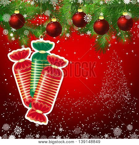 Candy New Year design background. Template card whit red Christmas balls on the green branches. Silhouette of a Christmas tree made of stars. Falling snow.  Holiday illustration with place for text.
