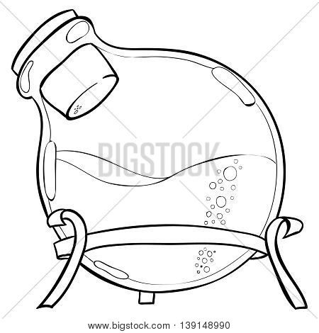 Doodle style laboratory jar illustration in vector format. Back to School. Doodle lab equipment.