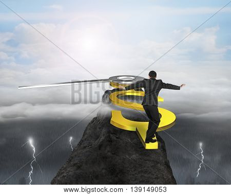 Rear View Man Walk On Usd Clock Hands On Top Of Mountain With Changeable Weather, 3D Rendering